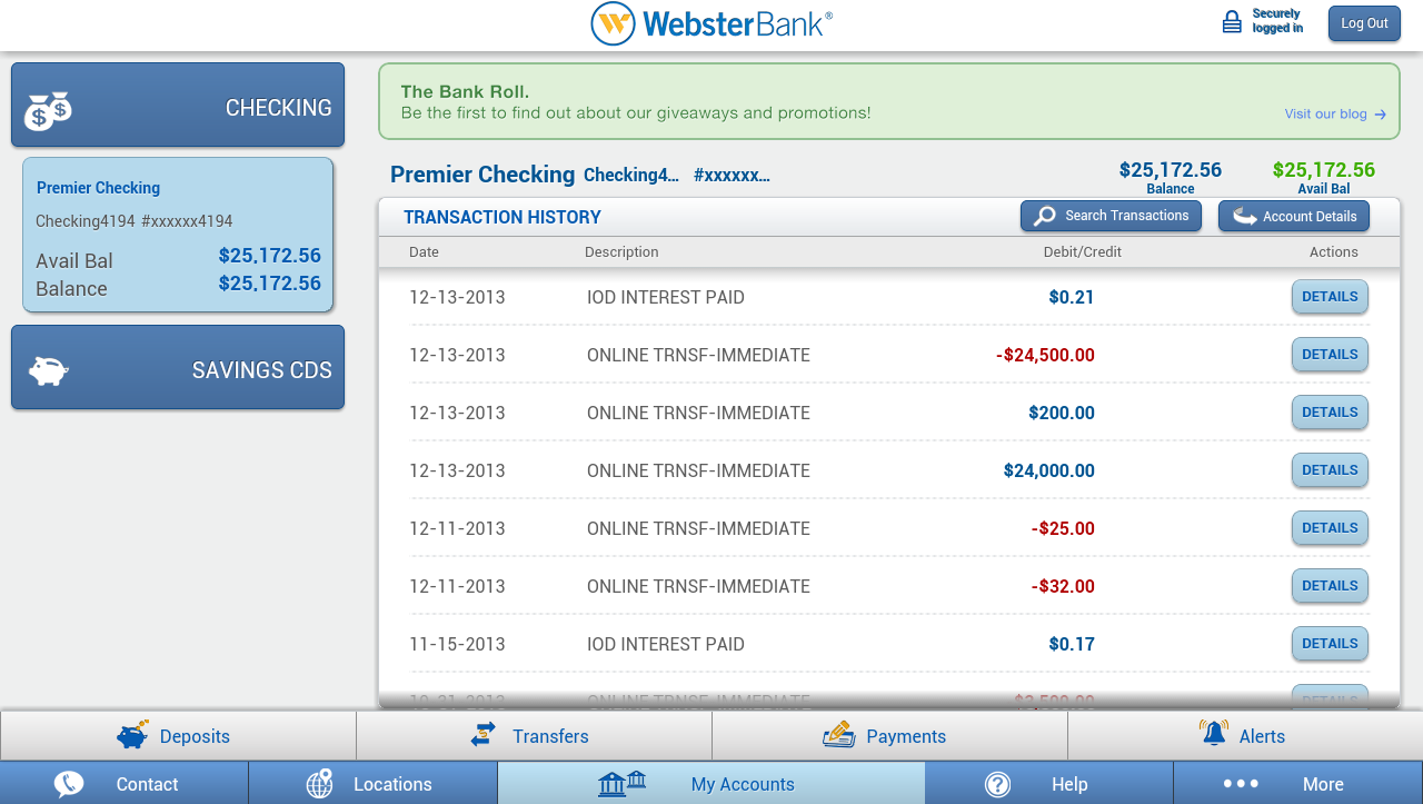 Webster Bank® Mobile Tablet- screenshot