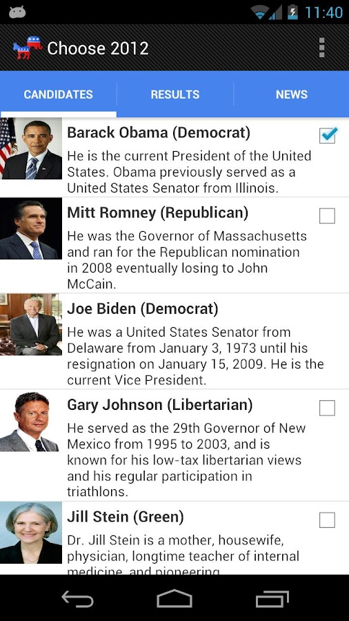 Election 2012 - screenshot