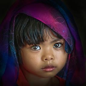 Purple Scarf Girl by Izhar  Hj.Ishak - Babies & Children Child Portraits