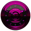 Black Pink clock widget analog icon