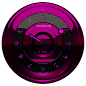 Black Pink clock widget analog