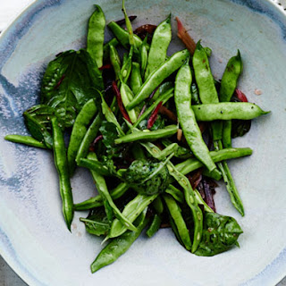 Runner Beans with Swiss Chard Stems and Basil.