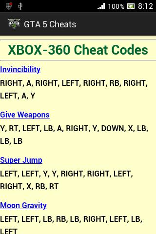 gta cheat codes xbox one numbers