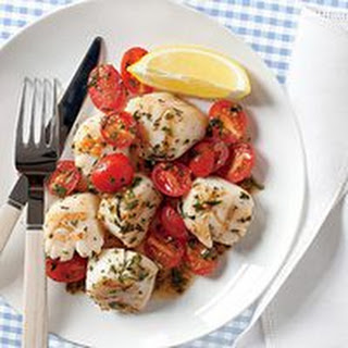 Scallops with Herbed Raw Tomato Sauce.