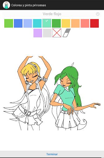 Pinta y colorea princesas