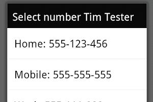 Screenshot of vCard via SMS