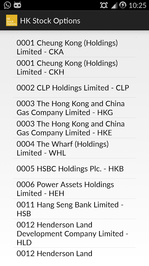 Hk stock options