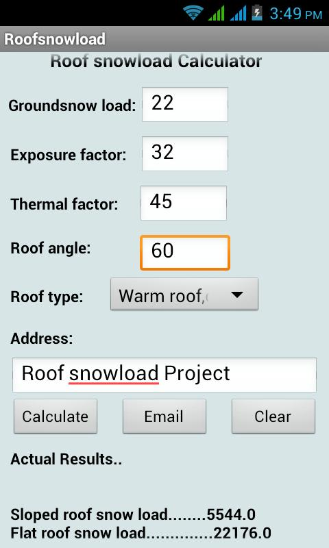 Roof snow load calculator android apps auf google play for Snow load roof pitch
