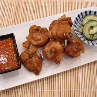 Korean Fried Chicken With Pickled Cucumber.