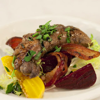 Shad Roe with Beets, Bacon, and Balsamic