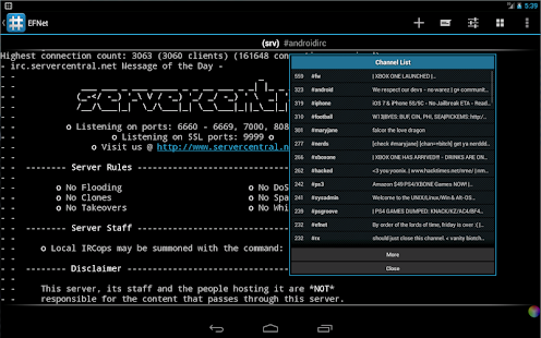 IRC for Android ™ Screenshot