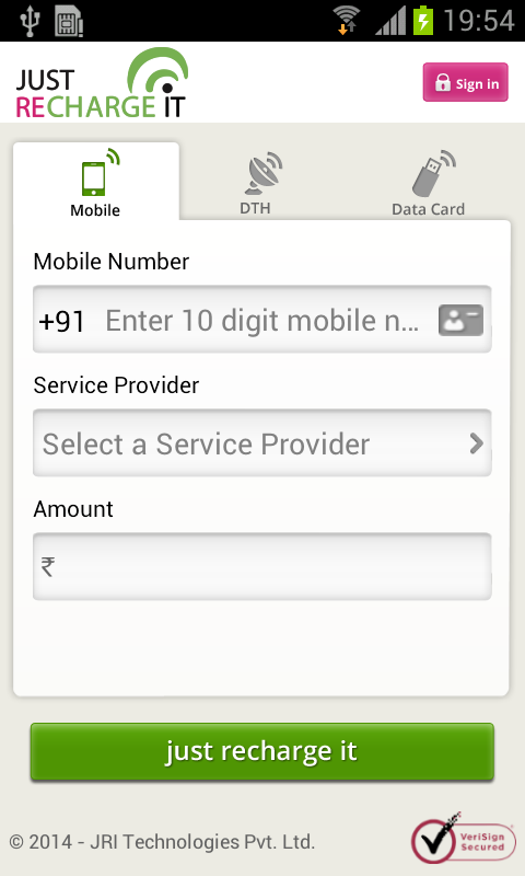 Mobile, DTH, Datacard Recharge- screenshot