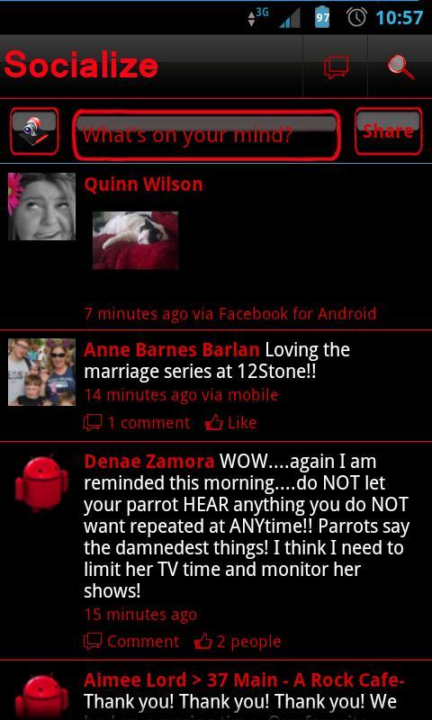 Red Socialize for Facebook - screenshot