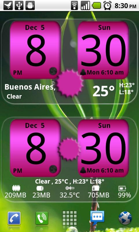 FlipClock NiceAll Pink Widget - screenshot