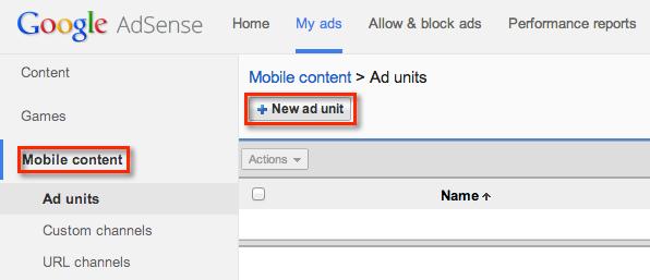 Create AFM ad unit