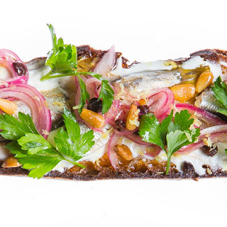 Sardine Tartine with Currants, Pine Nuts and Sweet-and-Sour Onions