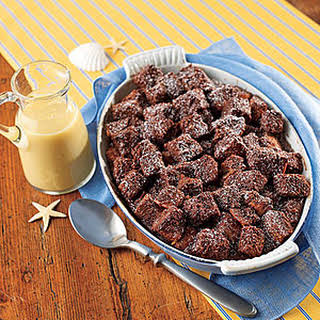 Chocolate Bread Pudding with Whiskey Sauce.