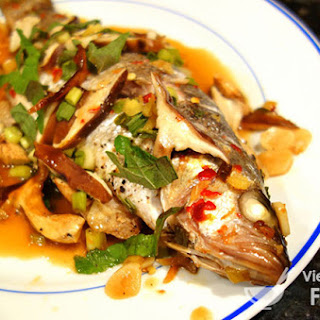 Steamed Whole Fish with Ginger, Scallions, and Soy.