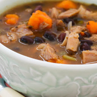 Leftover Turkey and Sweet Potato Soup with Black Beans and Lime.