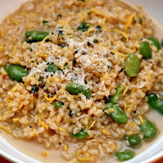 Brown Risotto with Summer Squash, Favas, and Mint