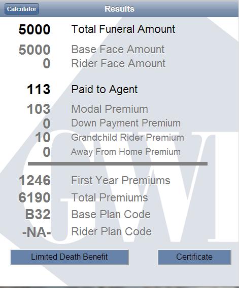 gwic iPremium Calculator - screenshot