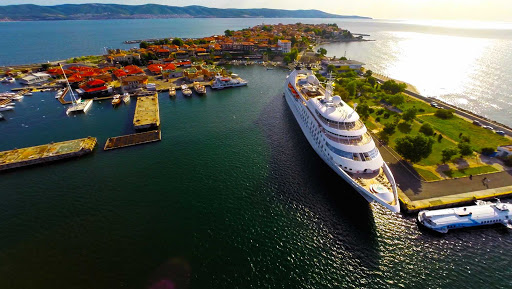 Star-Pride-in-Nessebar-Bulgaria - Windstar Cruises' Star Pride nestles into the ancient port of Nessebar, Bulgaria, a World Heritage Site.