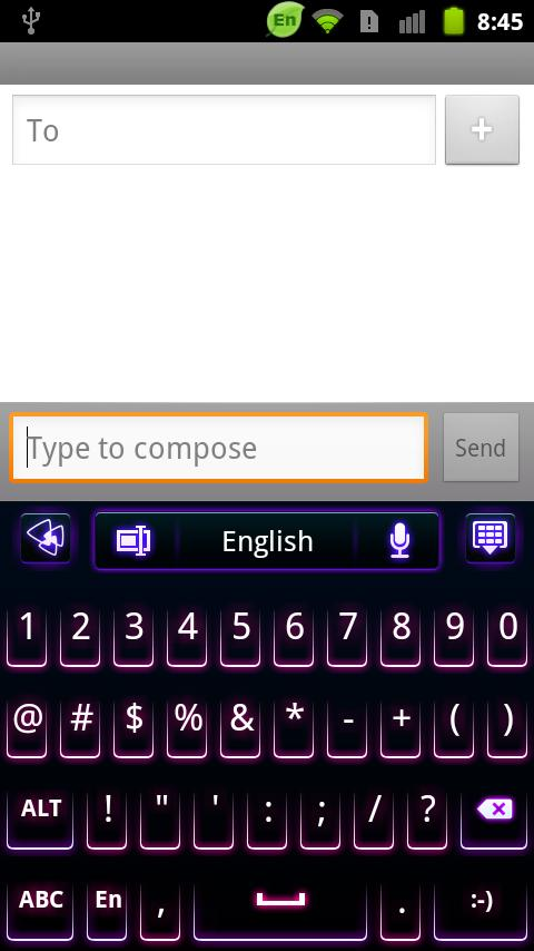GO Keyboard Purple Neon Theme - screenshot