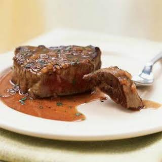 Beef Tenderloin Steaks with Red Wine-Tarragon Sauce.