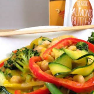 Zucchini Noodles with Nutty Carrot Ginger Sauce.