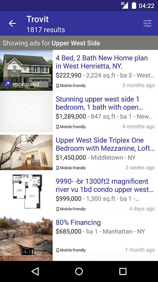 Real Estate sale & rent Trovit- screenshot