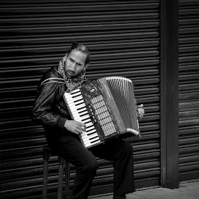 The Accordion player by Gaz Haywood - People Musicians & Entertainers ( accordion, street, busker, musician, blind, man,  )
