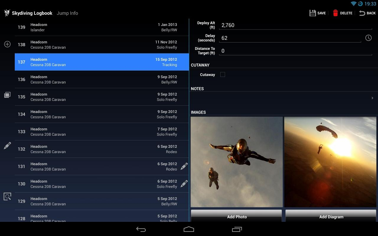 Skydiving Logbook- screenshot