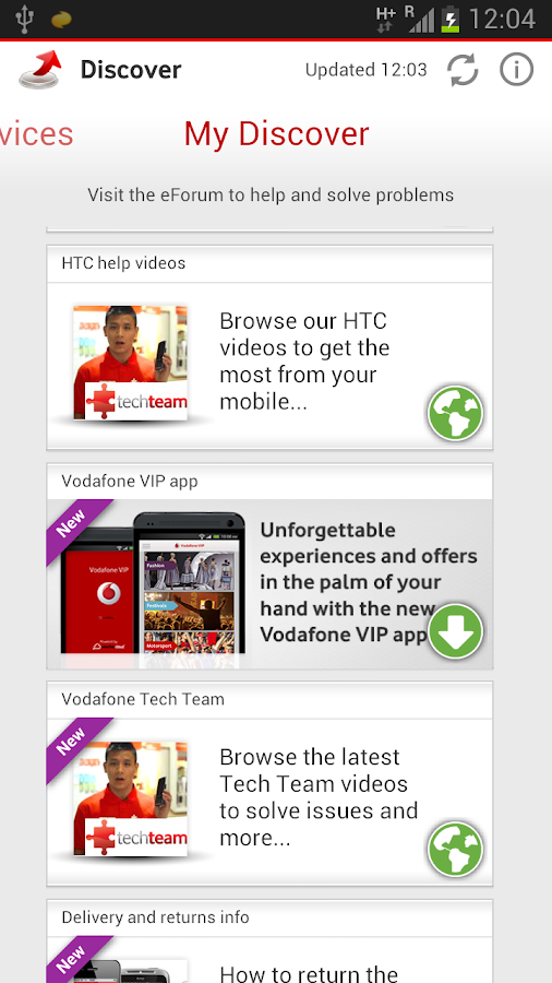Vodafone Discover - screenshot