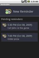 Screenshot of RemindMe