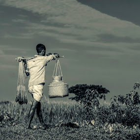 Villager  by Qamrul Hassan Shajal - People Professional People ( hard worker, b&w, trees, cloud, daily, man, black&white,  )