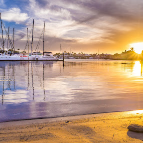 Mooloolaba Sun by Peter Hoek - Landscapes Sunsets & Sunrises ( sunset, boats, australia, long exposure, mooloolaba )