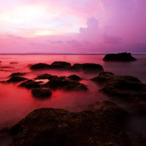 The Romantic Beaches by Henry Rubi - Landscapes Beaches ( beaches, bali, sunset, violet, romantic, suluban beach )