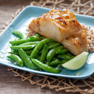 Sweet Miso Cod with Snap Peas, Farro & Lime Beurre Blanc.