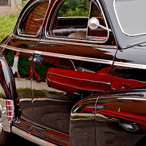 Vintage Reflections  by Joan Rankin Hayes - Transportation Automobiles ( automobiles, vintage cars, auto show, reflections )