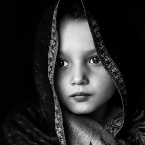 Sadness In Her Eyes by Sue Matsunaga - Black & White Portraits & People