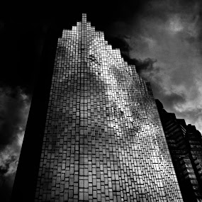 No 200 Bay St RBP South Tower Toronto Canada by Brian Carson - Black & White Buildings & Architecture ( photograph, brian carson, exterior, toronto, street, minimal, architecture, historic, city, blackandwhite, sky, metal, perspective, the learning curve photography, light, financial, structure, canada, texture, experimental, landmark, environment, window, facade, bay, outdoors, canadian, lines, www.thelearningcurve.ca, wall, reflection, concept, monochrome, black and white, geometric, photography, modern, mirror, skyscraper, glass, above, gold, metallic, district, downtown, office, clouds, abstract, icon, building, black & white, ontario, steel, photo, history, urban, tower, pattern, color, background, outdoor, foto, high, design )