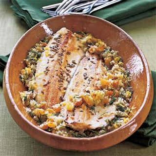 Fennel-Crusted Trout with Lemon-Ginger Vinaigrette.