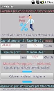 Calcul Prêt & Crédit - Gratuit- screenshot thumbnail