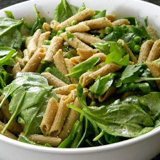 Whole Wheat Penne with Pesto and Spinach.