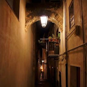 Night in Sicily by Pavel Laberko - City,  Street & Park  Neighborhoods ( walls, street, lamp, night, light, Urban, City, Lifestyle )