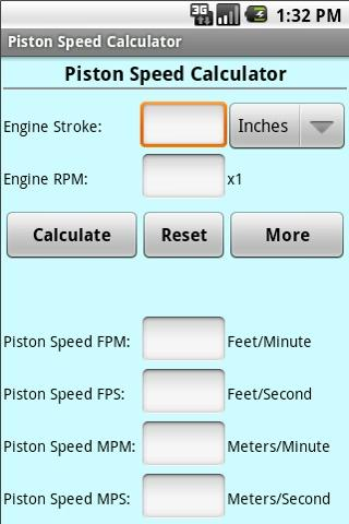 Piston Speed Cal - screenshot