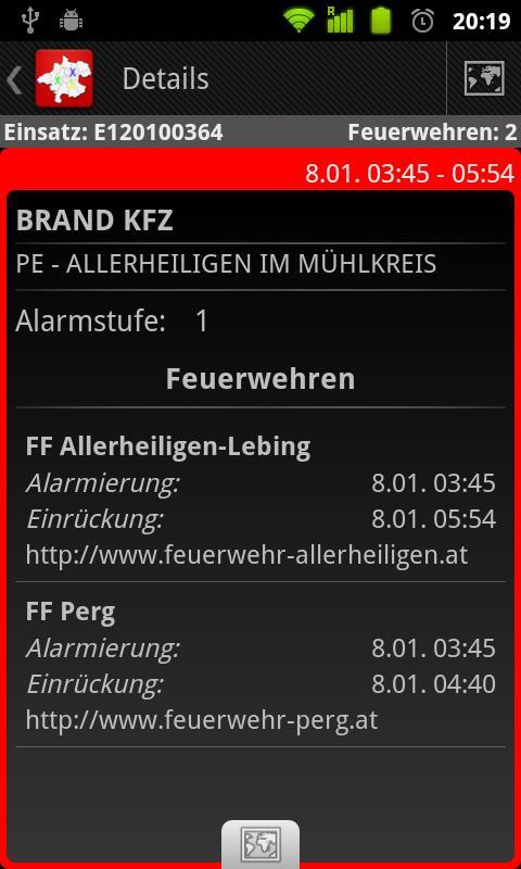 Feuerwehreinsätze LFK OÖ – Screenshot