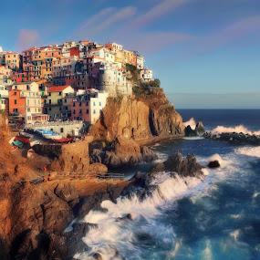 DELIGHTFUL MANAROLA by Paolo Lazzarotti - Landscapes Sunsets & Sunrises ( blue sky, sunset, fast moving clouds, 5 terre, seastorm, manarola, big waves, red cliffs, deep blue sea )