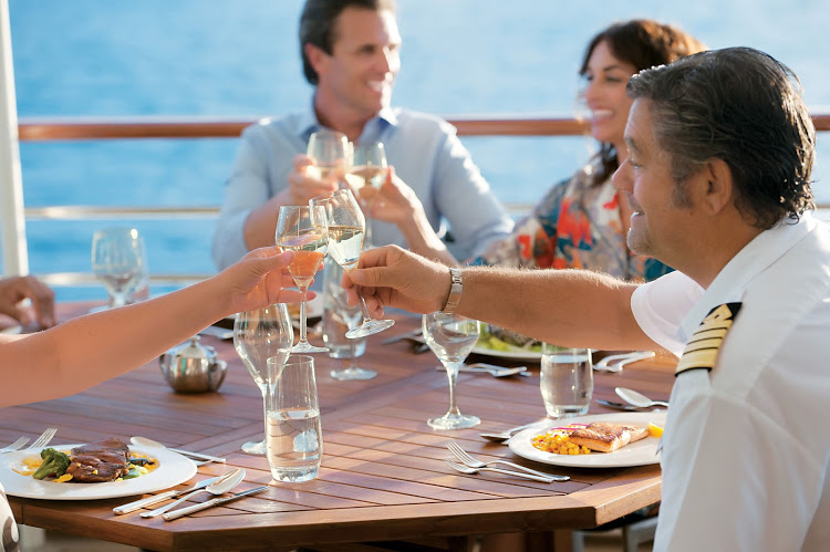 Lift a glass with the captain on Azamara's Tere Moana and toast fellow cruisers who are good stewards of the sea and ship.
