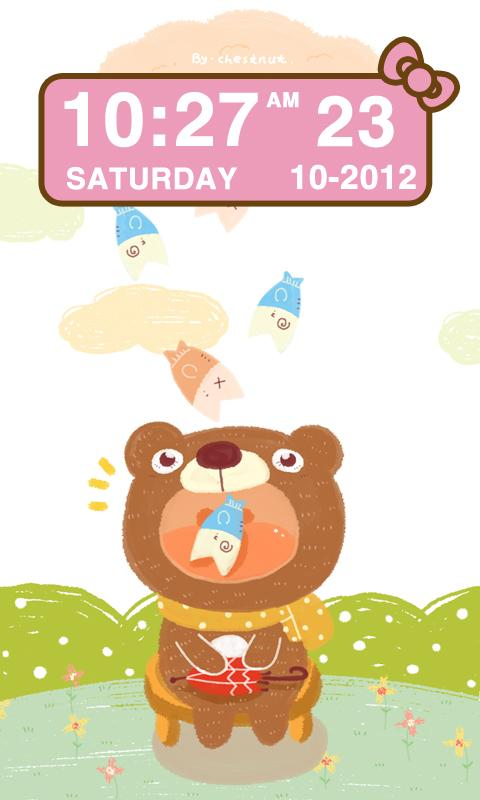 Pink Kitty bow Clock Widget - screenshot
